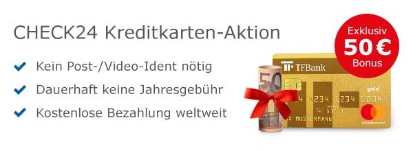TF Bank Kreditkarte mit 50€ Willkommensbonus